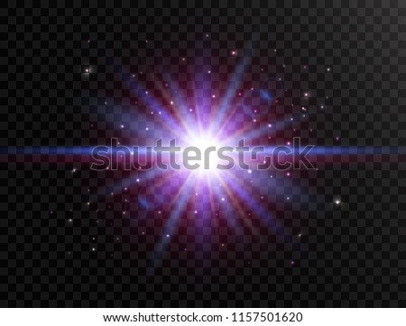 Futuristic light on transparent background. Flash with rays and spotlight. Star burst with beams and sparkles. Glowing effect. Colorful lens flare. Explosion star. Vector illustration.