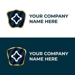 futuristic logo design with luxury style. blue and golden luxury logo design