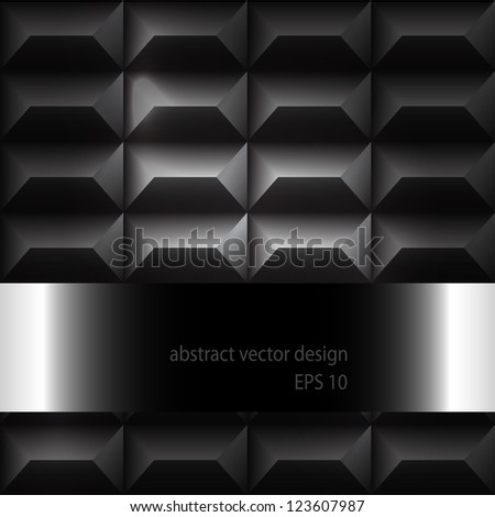 Futuristic Metal 3D Vector Background With Pattern