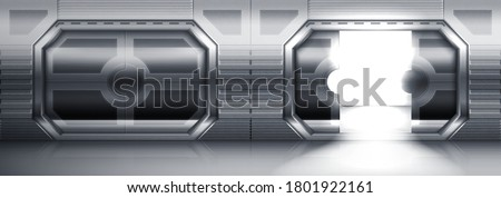 Futuristic metal sliding doors in spaceship, submarine or laboratory. Vector realistic interior of empty hallway with open and closed steel gates. Stainless doors in spacecraft or lab