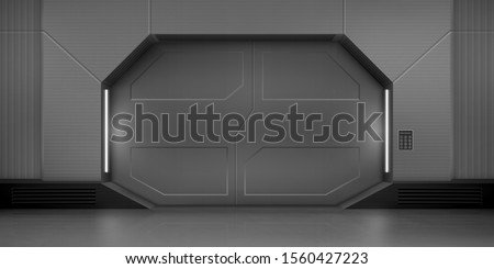 Futuristic metal sliding doors. Vector realistic interior of hallway in spaceship. Closed gate with code lock keypad on the wall