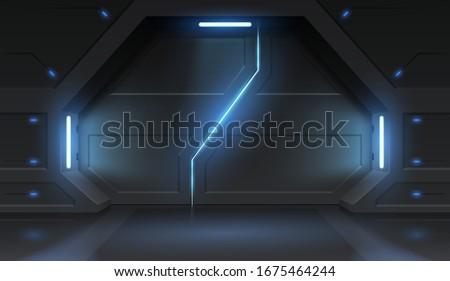 Futuristic metal sliding spaceship doors