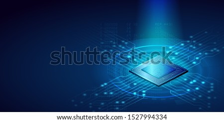 Futuristic microchip CPU with blue lights and effects. Database, processign concept. CPU isometric banner concept. Vector 3D illustration. Stockfoto ©