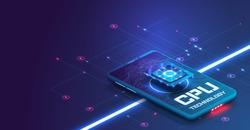 Futuristic microchip processor with backlight on the phone in blue. Quantum phone, big data processing, database concept. Processor the ISO banner.Digital chip.Modern cpu,great design for any purposes