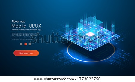 Futuristic microchip processor with lights on blue background. Quantum computer or block chain of abstract finance data. Blockchain fintech technology and mining cryptocurrency. Vector illustration