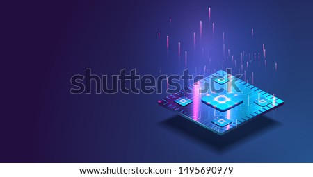Futuristic microchip processor with lights on the blue background. Quantum computer, large data processing, database concept. CPU isometric banner. Central Computer Processors CPU concept.Digital chip
