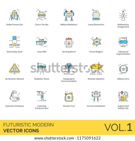 Futuristic modern vector icons. Power suit, military battletech, radioactive, doomsday vault, laser rifle, radiation wave, holographic, nuclear explosion, cyberarm prothesis, augmentation, exoskeleton