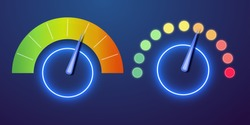 Futuristic neon customer satisfaction meter, speedometer. The concept of low-risk, low, medium or high risk on the speedometer Vector illustration.