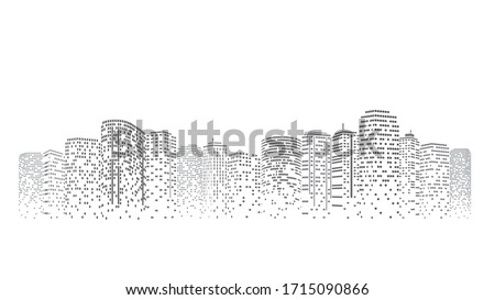Futuristic night city. Building and urban Illustration, City scene on night time. Design graphic for web page or banner. Stock foto ©