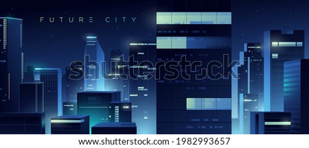 Futuristic night city. Cityscape on a colorful background with bright and glowing neon lights. Wide city front perspective view. Cyberpunk and retro wave style illustration.