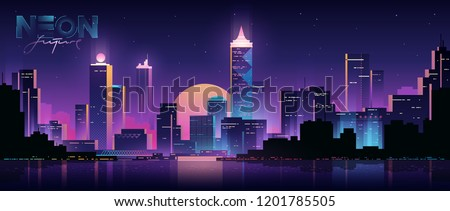 Futuristic night city. Cityscape on a dark background with bright and glowing neon purple and blue lights. Cyberpunk and retro wave style illustration.