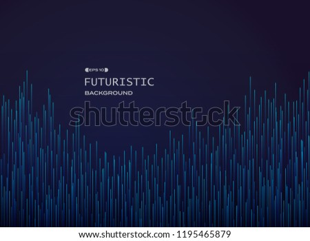 Futuristic of gradient blue stripe lines pattern background, vector eps10 #1195465879