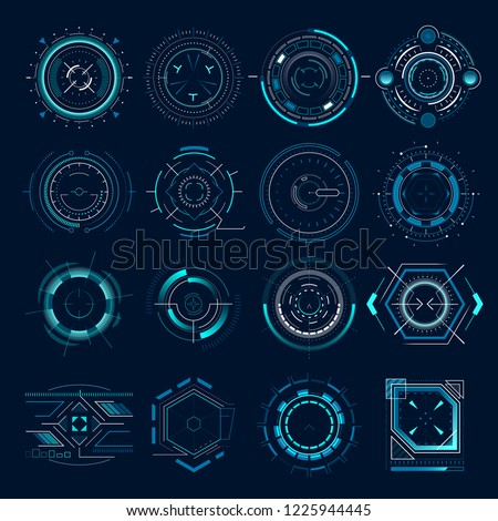 Futuristic optical aim. Military collimator sight, gun targets focus range indication. Sniper weapon target hud aiming modern accuracy crosshairs future weapon radar technology vector icons set