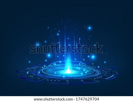 Futuristic or magic portal with glow effect. Circle digital hologram, Sci-fi teleport for UI, GUI, HUD and presentation with light. Magic circle podium. Virtual reality projector. Vector illustration