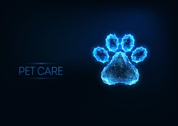 Futuristic pet care, veterinary clinic, grooming service logo concept with glowing low polygonal animal paw on dark blue background. Modern wireframe mesh design vector illustration.