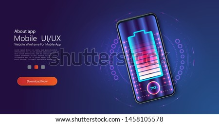 Futuristic phone is charged wirelessly on a blue background. Wireless charging. Wireless charging of the smartphone battery. Future concept. The progress of charging the battery of the phone. Vector Stockfoto ©