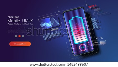 Futuristic phone is charged wirelessly on a blue background. Wireless charging. Wireless charging of the smartphone battery. Future concept. The progress of charging the battery of the phone. Vector