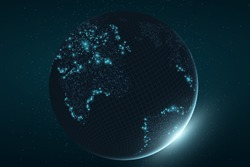 Futuristic planet Earth. Glowing map of square dots. Abstract background. Space composition. Blue glow. High tech. World map. Global network connection. Vector illustration. EPS 10