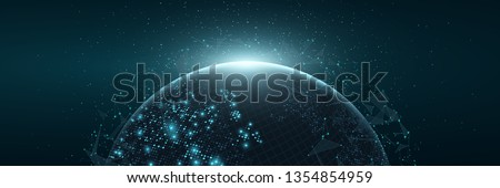 Futuristic Planet Earth. World map of glowing square dots. Modern abstract background. Space composition. Web banner. Global network connection. Vector illustration. EPS 10. Foto stock ©
