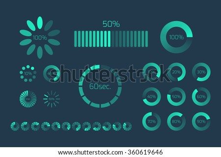 Futuristic Progress loading bar. Set of indicators. Download progress, web design template, interface upload. Vector illustration.