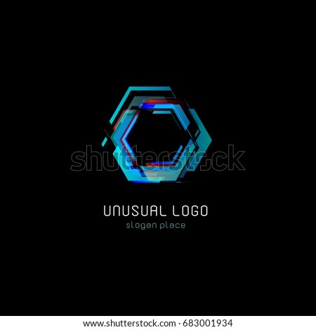 Futuristic reactor abstract colorful vector logo template. Innovative technologies digital design effect logotype on black background.