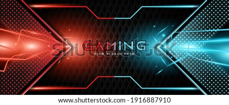 Futuristic red and blue abstract gaming banner design template with metal technology concept. Vector illustration for business corporate promotion, game header social media, live streaming background