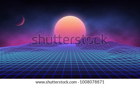 Futuristic retro landscape of the 80`s. Vector futuristic illustration of sun with mountains in retro style. Digital Retro Cyber Surface. Suitable for design in the style of the 1980`s. - Shutterstock ID 1008078871