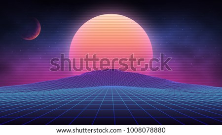 Futuristic retro landscape of the 80`s. Vector futuristic illustration of sun with mountains in retro style. Digital Retro Cyber Surface. Suitable for design in the style of the 1980`s. - Shutterstock ID 1008078880
