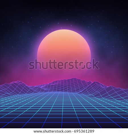 Stock Photo Futuristic retro landscape of the 80`s. Vector futuristic illustration of sun with mountains in retro style. Digital Retro Cyber Surface. Suitable for design in the style of the 1980`s.