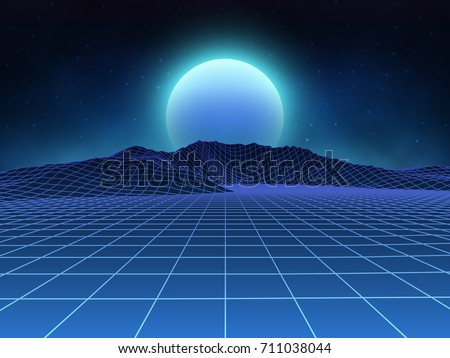 Stock Photo Futuristic retro landscape of the 80's. Vector futuristic illustration of sun with mountains in retro style. Digital Retro Cyber Surface. Suitable for design in the style of the 1980's.