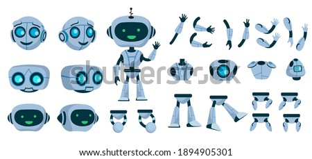 Futuristic robot constructor flat icon set. Cartoon android character design isolated vector illustration collection. Electronic equipment and humanoid animation concept