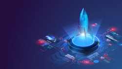 Futuristic rocket takes off, on a blue background with dashboard chart and graphs. Startup concept in isometric. Business Start up launching product with rocket concept. Template and Background.