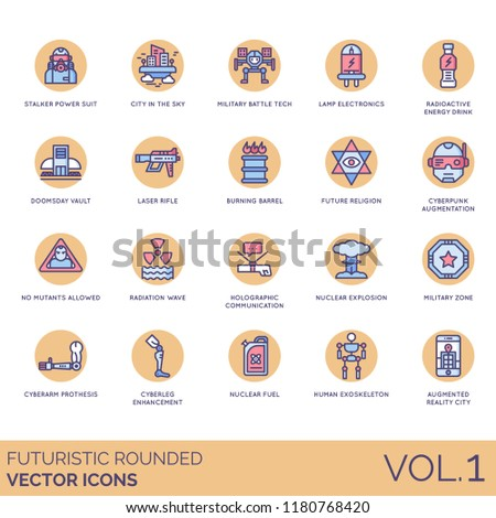 Futuristic rounded vector icons. Power suit, military battletech, radioactive, doomsday vault, laser rifle, radiation, holographic, nuclear explosion, cyberarm prothesis, augmentation, exoskeleton.