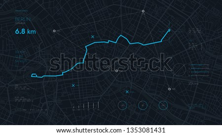 Futuristic route dashboard GPS tracking map, navigate mapping technology and locate position pin on the streets of the city Berlin, high tech vector background