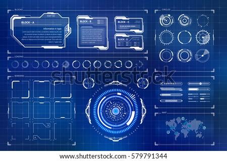 Futuristic Sci Fi Modern User Interface Set. Abstract HUD