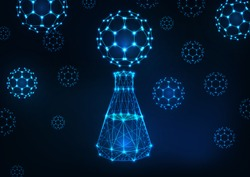 Futuristic science abstract background with glowing low polygonal laboratory flask and fullerene buckyball molecules on dark blue background. Scientific research and development concept. Vector.