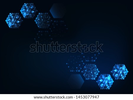 Futuristic scientific hexagonal dark blue background with space for text. Glowing low polygonal hexagons made of lines, stars, dots. Modern wireframe design vector illustration.