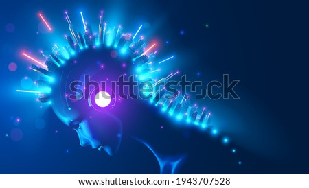 Futuristic smart city on head AI in image female cyborg or robot woman. Artificial intelligence, IOT technology, internet communications in modern city infrastructure system. Skyscrapers in neon light Сток-фото ©