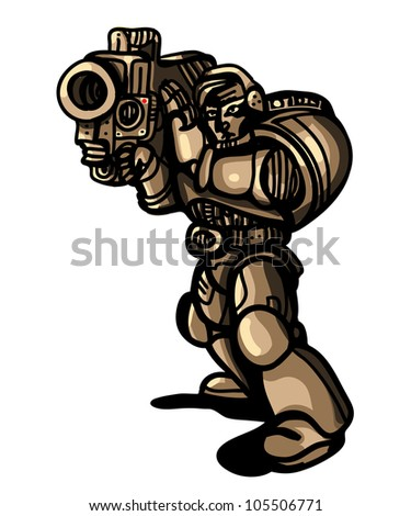 futuristic soldier with missile launcher
