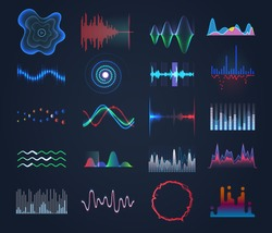 Futuristic sound equalizer or audio waves. Set of hud effects for digital music or waveforms, audio frequency as round, spiral or bar shapes. Modern technology and tune, song and music theme