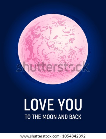 Futuristic space planet poster background. Textured cosmic celestial body in deep blue sky. Cosmic party banner template. Vector illustration. Full Moon surface background.