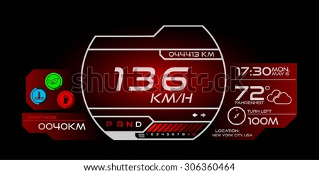 futuristic speedometer interface