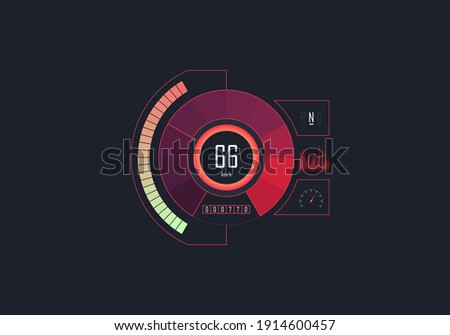 Futuristic speedometer isolated on dark background. Circle speedometer with speed measure, transmission indicator and car odometer with motor kilometers measuring the scale. Vector illustration Foto stock ©