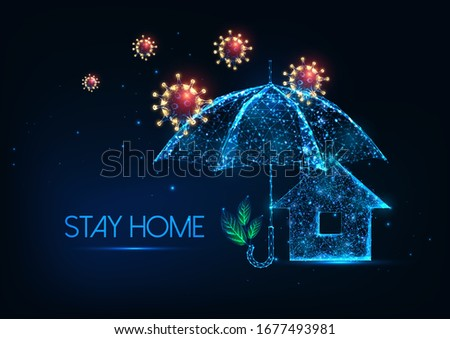 Futuristic stay at home during coronavirus outbreak concept with glowing low polygonal virus cells, protection umbrella and residential house isolated on dark blue background. Lockdown and quarantine concept.