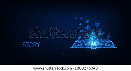 Futuristic story telling, literature reading concept with glowing low polygonal open book and flying butterflies isolated on dark blue background. Modern wire frame mesh design vector illustration.