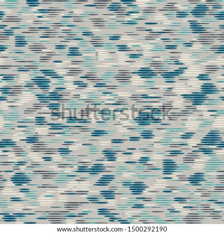 Futuristic techno glitch striped grunge seamless repeat vector pattern swatch.  Blue, teal, and cream.  Chaotic illusion of motion.  Great for sports wear.