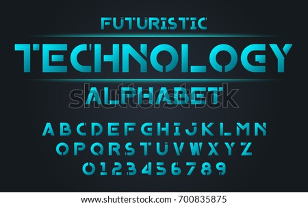 Futuristic technology blue set style technology and modern.Decorative alphabet vector fonts and numbers.Typography design for headlines, labels, posters, logos, cover, etc.
