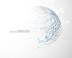 futuristic technology network background in sphere shape