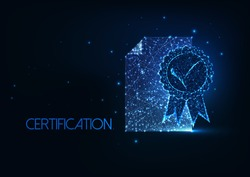 Futuristic top quality certificate concept with glowing low polygonal document with badge with blue ribbon on dark blue background. Modern wireframe mesh design vector illustration.