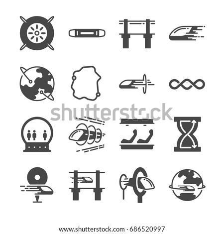Futuristic transportation icon set. Included the icons as hyper, train, loop, speed, acceleration and more.